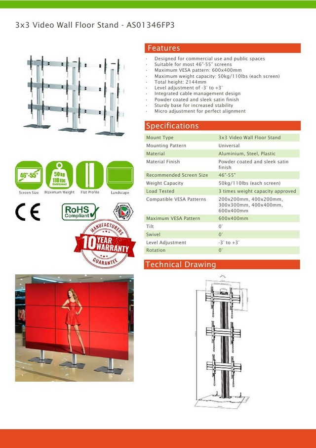 3x3 Video Wall Floor Stand 46 - 55 (Vesa)