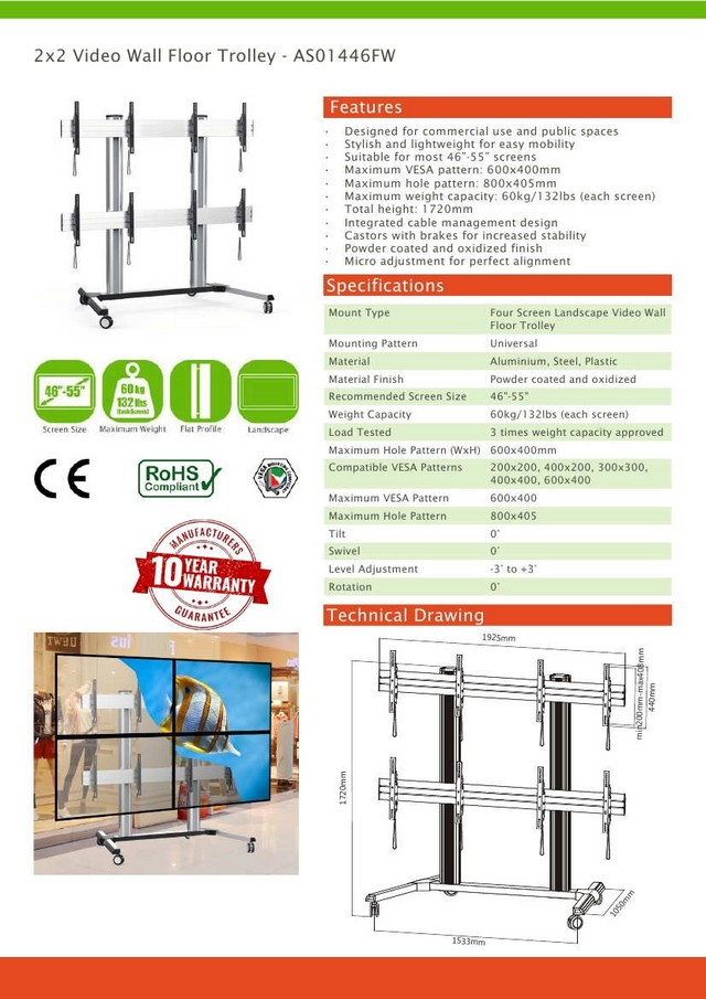 2x2 Video Wall Floor Trolley 46 - 55 (Vesa)