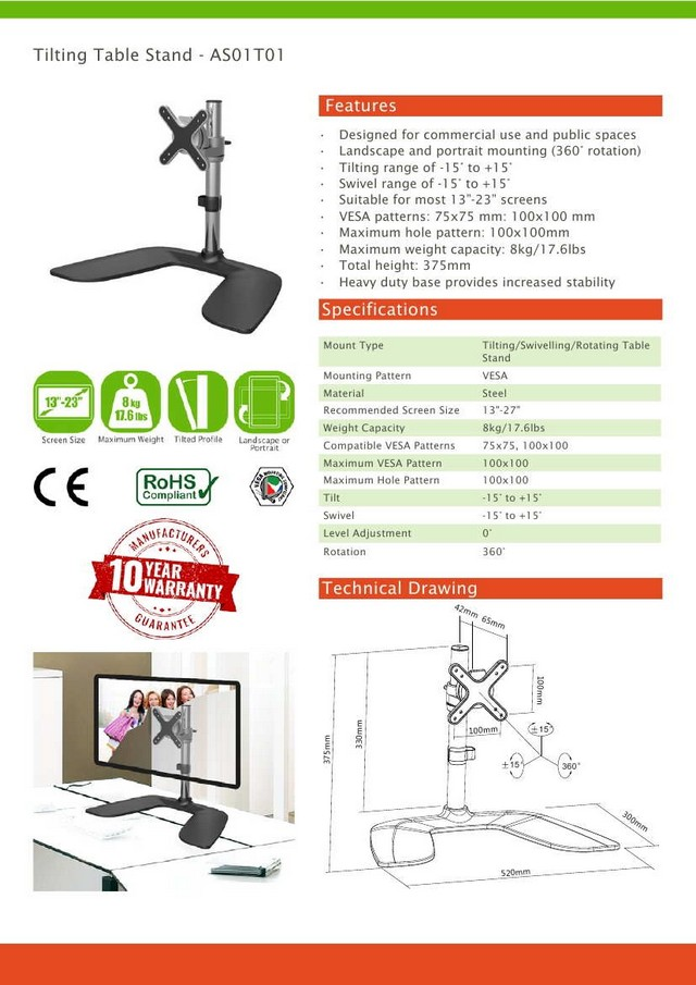 Tilting Table Stand Vesa Mount