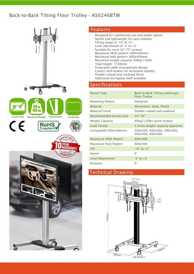 Back-to-Back Tilting Vesa Floor Trolley Stand