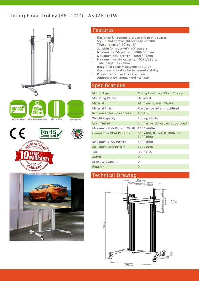Tilting Vesa Floor Trolley Stand (46-100)