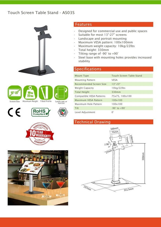 Touch Screen Table Vesa Stand