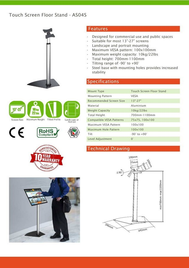 Touch Screen Vesa Floor Stand