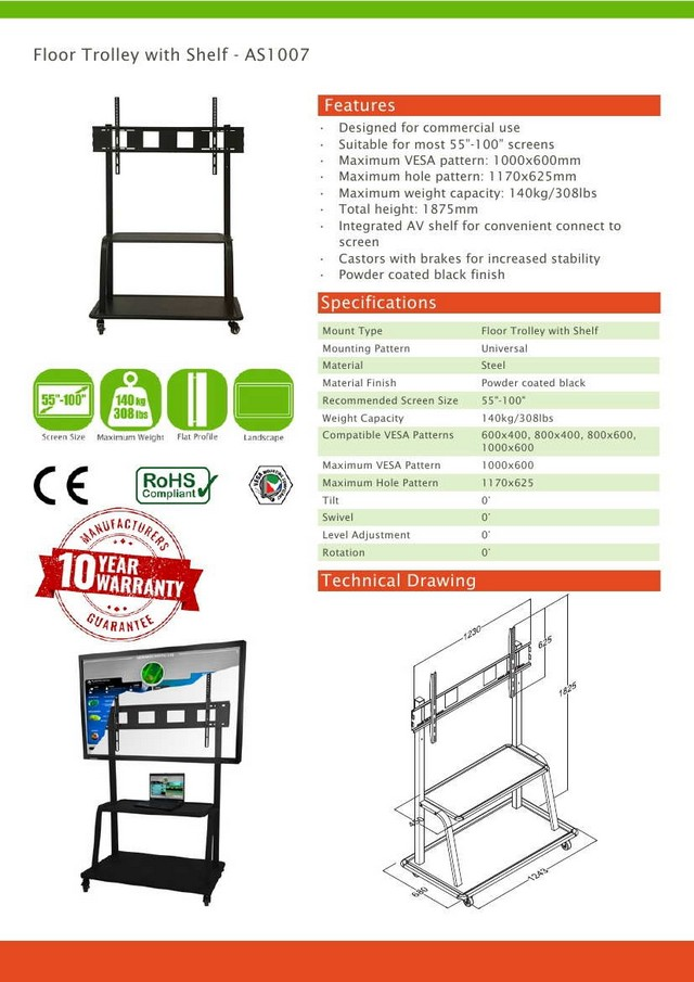 Floor Trolley Vesa Stand with Shelf
