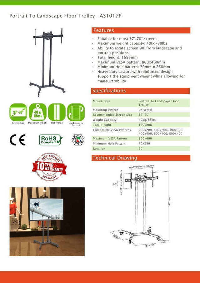 Portrait To Landscape Vesa Floor Trolley Stand (Max 40kg)