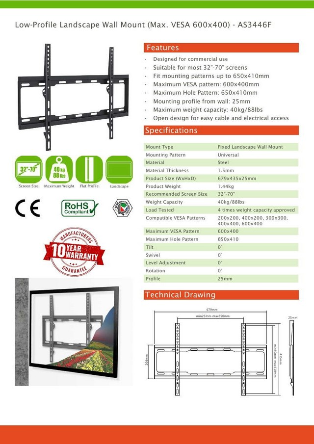 Low-Profile Landscape Vesa Wall Mount (Max. 40kg)