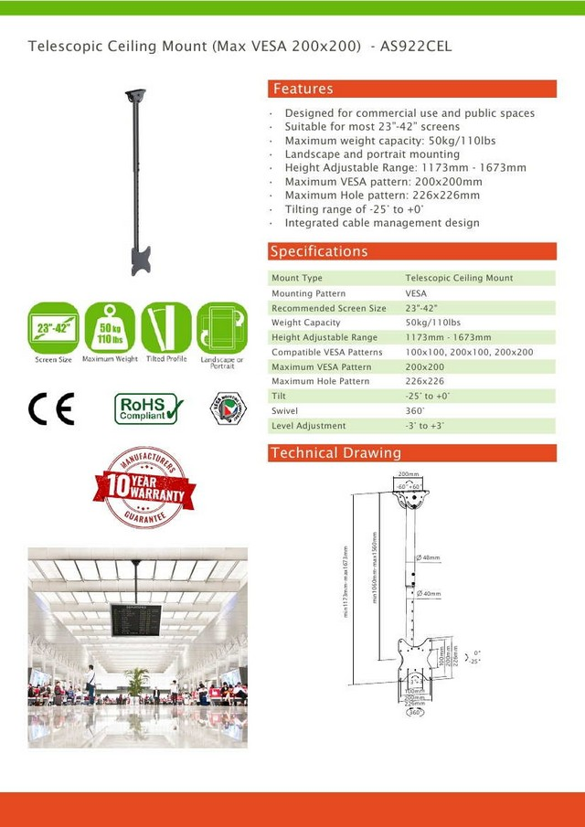 Telescopic Vesa Ceiling Mount 23-42 (Max VESA 200x200)