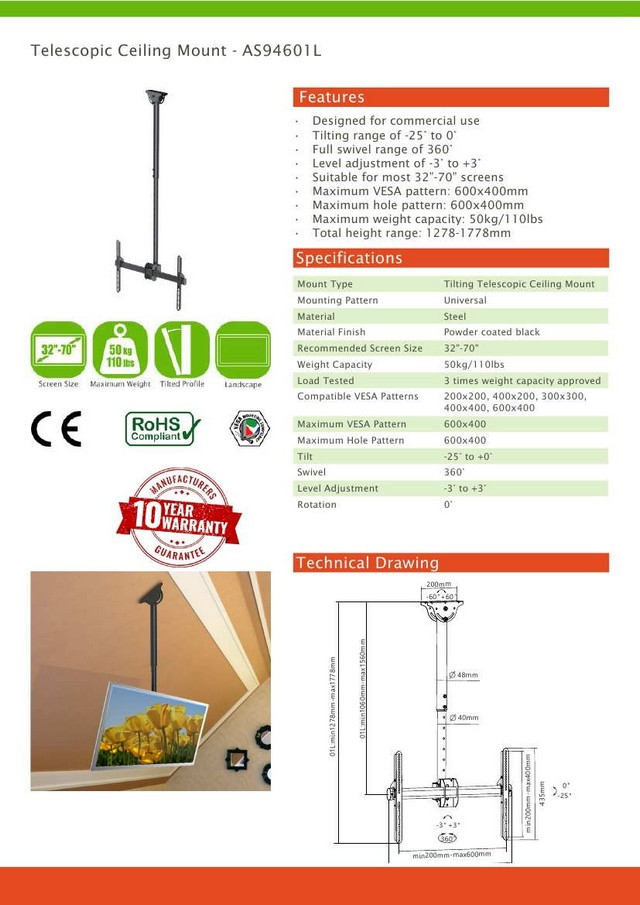 Telescopic Vesa Ceiling Mount 32