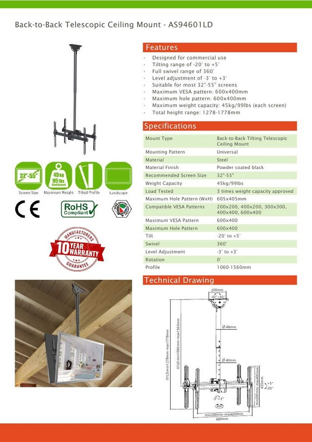 Back-to-Back Telescopic Vesa Ceiling Mount 32 - 55
